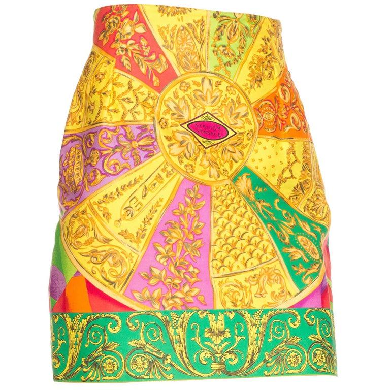 Atelier Versace Istante Baroque Printed Cotton Skirt, 1990s