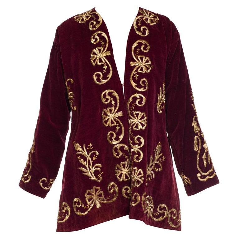 1920S Cranberry Red Cotton Velvet Antique Patina Jacket From Afghanistan With S For Sale
