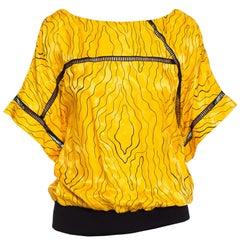 1980S Nina Ricci Black & Yellow Silk Jaquard Squiggle Print T-Shirt Blouse
