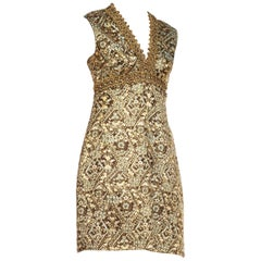 1960s Mod Oscar de La Renta Metallic Floral Cocktail Dress With Gold Braid