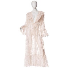 Victorian Boho Style Sheer Lace Maxi Duster Dress, 1970s
