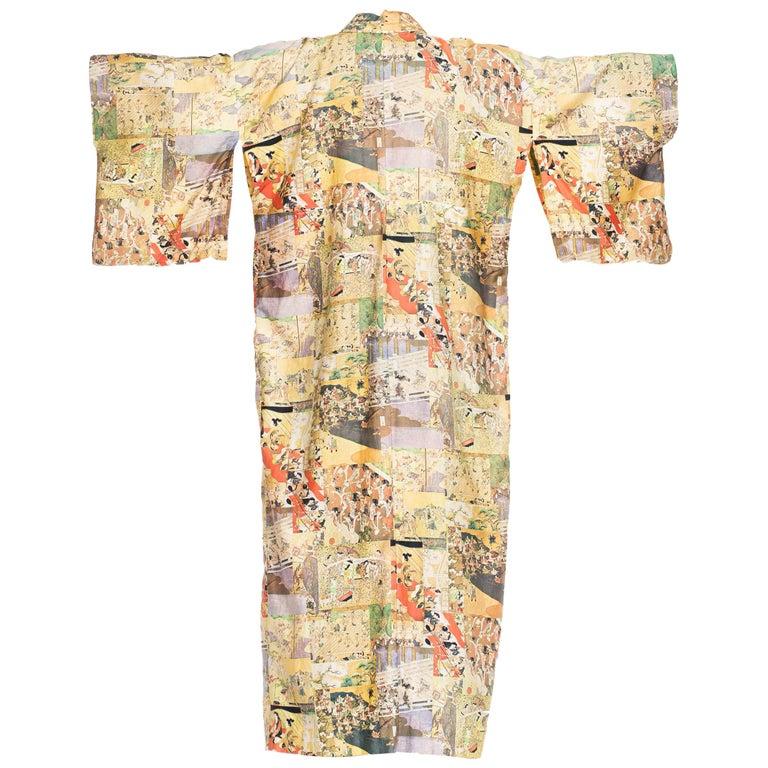 1970s Japanese Samurai Print Cotton Mens Kimono