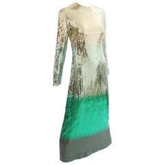 Bill Blass Vintage Ombre Sequins Evening Gown Dress, 1970s