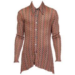 1970s Sheer Lace Missoni Style Disco Shirt Large