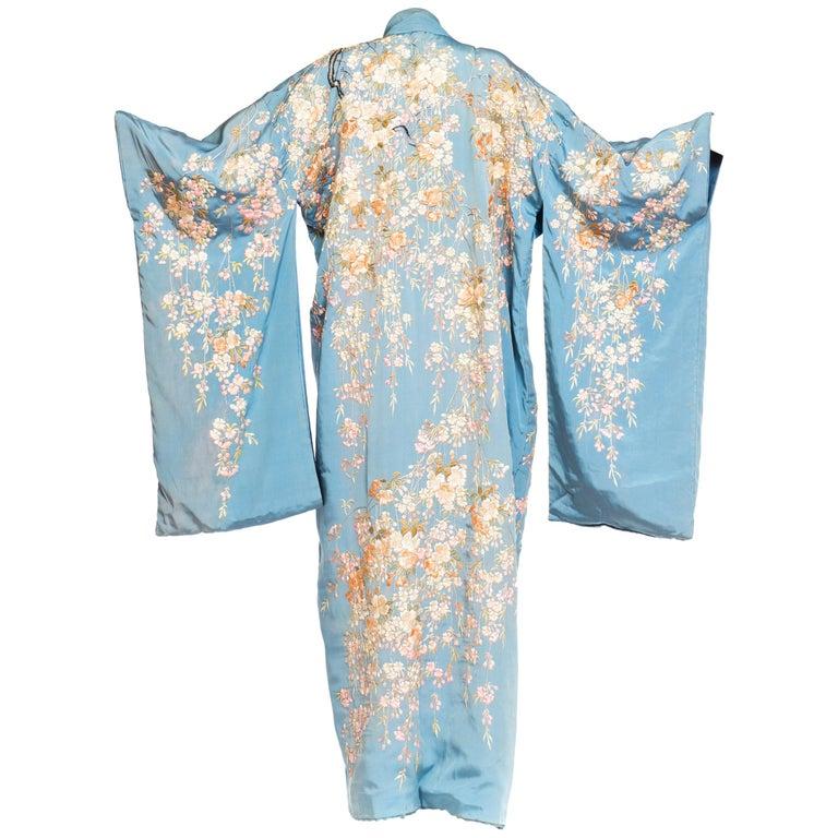 Antique Edwardian Floral Embroidered Japanese Kimono