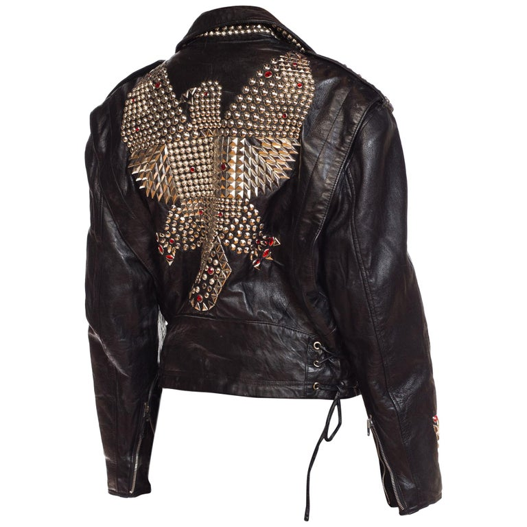Leather Biker Jacket Covered in Studs & Crystals For Sale