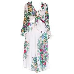 1970s Judy Hornby Boho Chiffon Ruffled Wrap Blouse & Bias Skirt