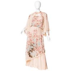 Boho Floral Chiffon Ruffled Dress with Cape, 1970s
