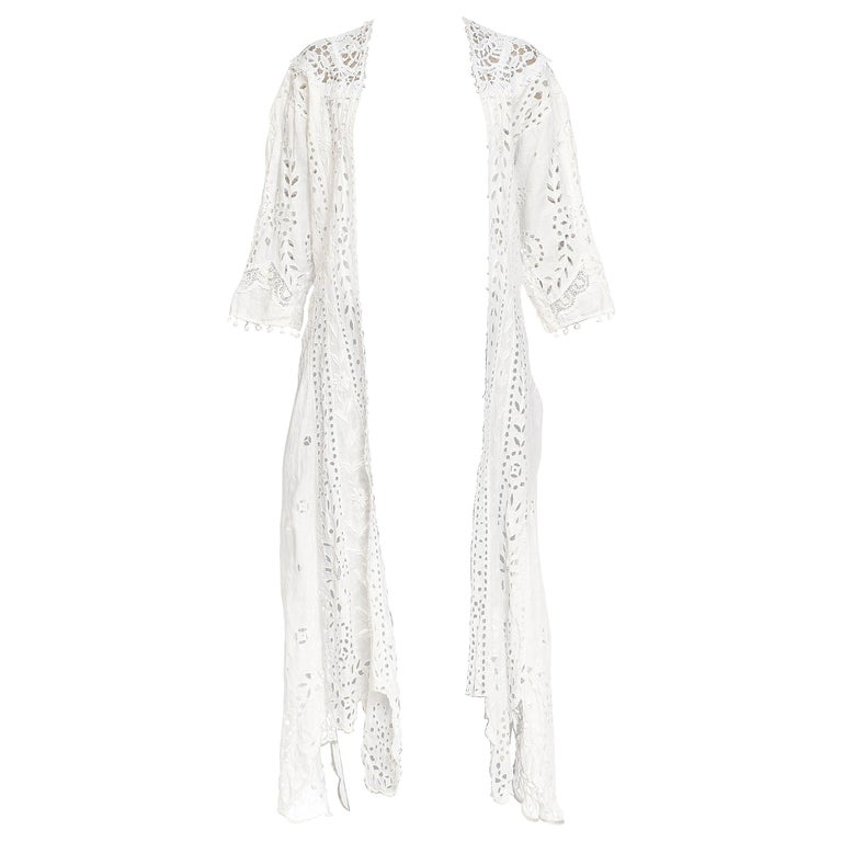 Victorian Eyelet & Irish Crochet Organic Linen Lace Duster Dress