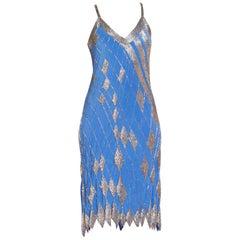 Disco Beaded Bias Slip Dress, 1970s