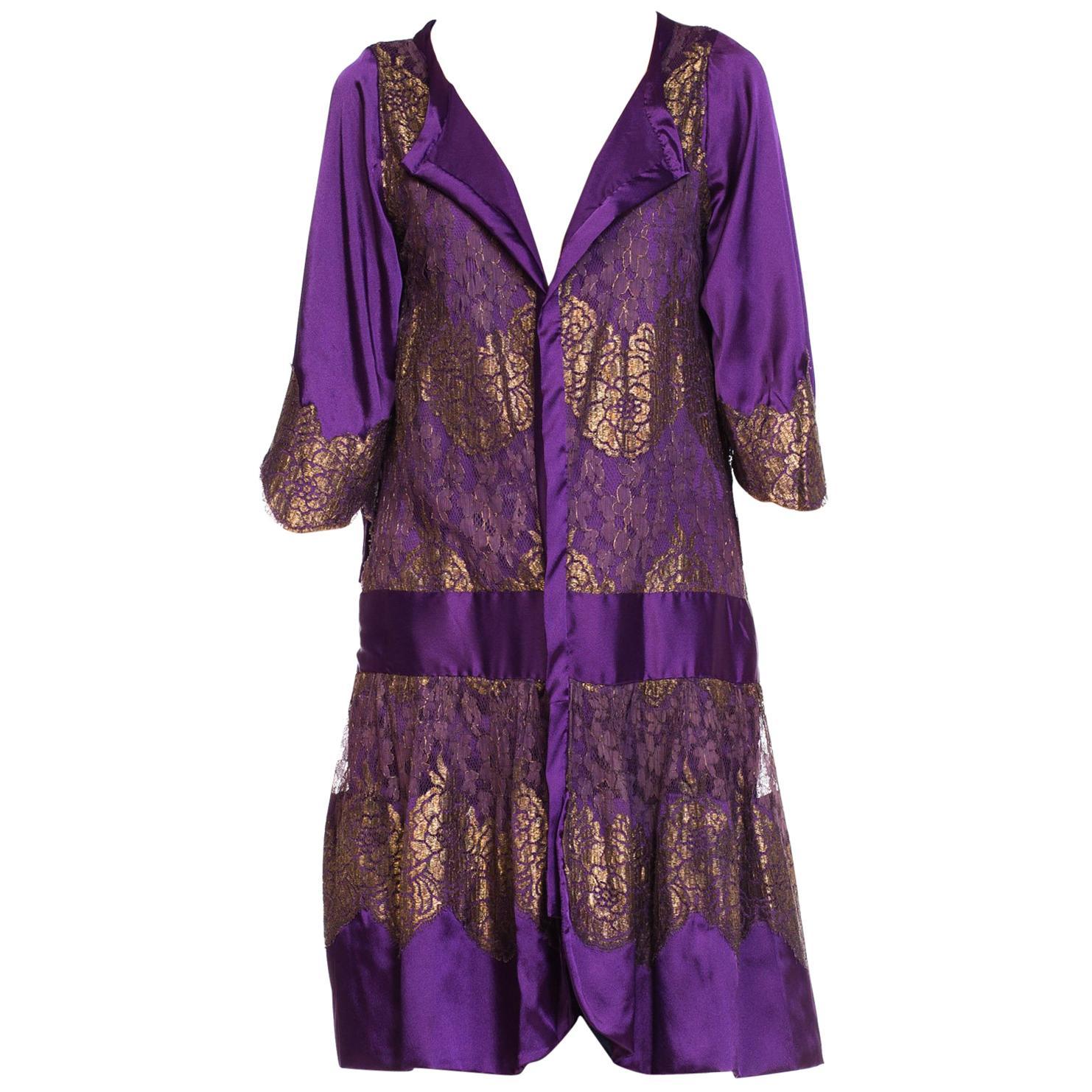 1920S Purple Art Deco Lame Lace Duster Jacket