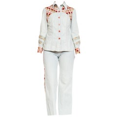 1970s Cavalli Style Denim Suit With Floral Ribbon