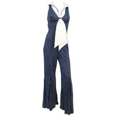 1970s Navy Polka-dot Jumpsuit with Sailor Collar