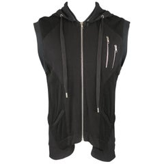 SKINGRAFT S Black Jersey & Mesh Cotton Zip Hooded Vest