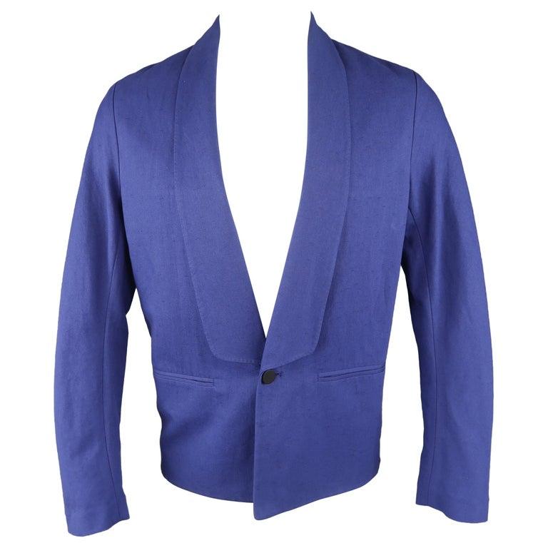 3.1 Phillip Lim Blue Cotton / Linen Shawl Collar Jacket / Sport Coat