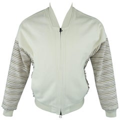 3.1 Phillip Lim Cream and Pink Striped Sleeve Canvas Bomber Jacket Coat