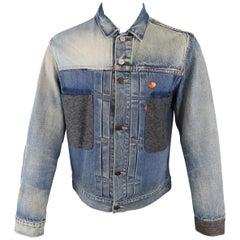 Levi's Blue Patchwork Mixed Denim One Of A Kind Custom Trucker Jacket Coat