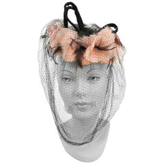 1940s Pink Feathered and Flowered Toy Hat