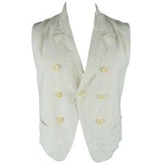 ANN DEMEULEMEESTER L Cream Hemp Peak Lapel Bondage Strap Vest