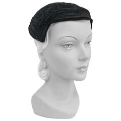 1950s I. Magnin Black Cordé Hat