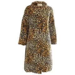 Bill Blass for Bond Street Velvet Leopard Print Coat 1970s Sz M