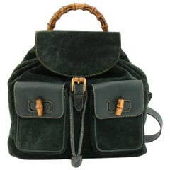 Vintage Gucci Green Suede Leather Bamboo Backpack