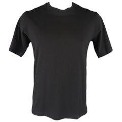 YOHJI YAMAMOTO Size L Black Cotton Crewneck Split Hem T-shirt Tee
