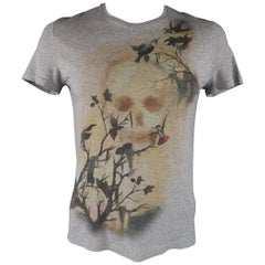 ALEXANDER MCQUEEN Size L Heather Grey Skull & Birds Graphic Cotton T-shirt Tee