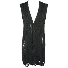 NUMBER (N)INE L Black Destroyed Cable Cotton Blend Knit Long Sweater Vest