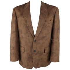Comme Des Garcons Vintage Brown Camouflage Wool Notch Lapel Sport Coat Jacket