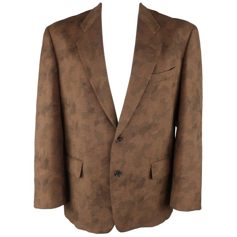 Comme Des Garcons Vintage Brown Camouflage Wool Notch Lapel Sport Coat Jacket