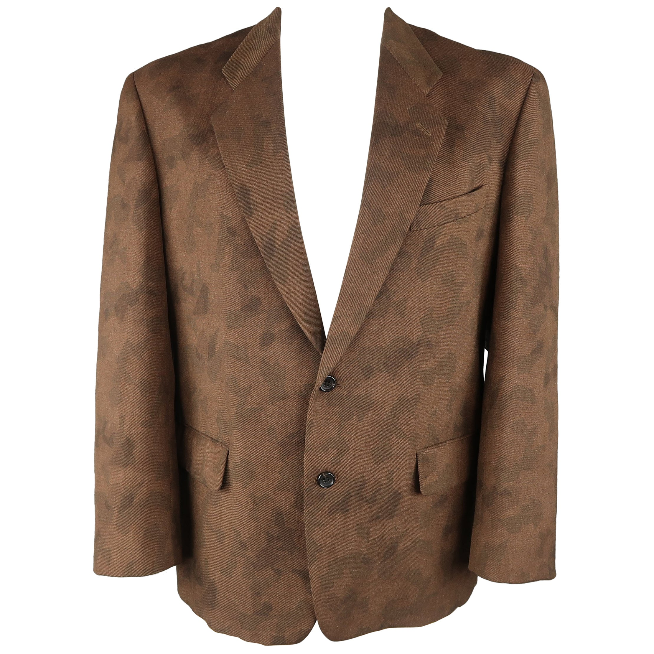 b384468aad34f Comme Des Garcons Vintage Brown Camouflage Wool Notch Lapel Sport Coat  Jacket at 1stdibs