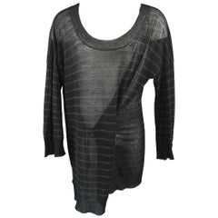ANN DEMEULEMEESTER Black Striped Sheer Knit Oversized Tied Sweater