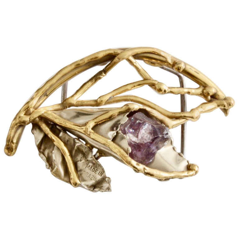 Early Copa Collection Brutalist Belt Buckle with Amethyst Rare Vintage