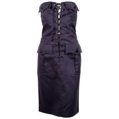 1990's YVES SAINT LAURENT rive gauche navy strapless safari dress