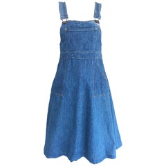 Rare Early 1970s The Gap Blue Jean Denim Vintage 70s Overalls Dress