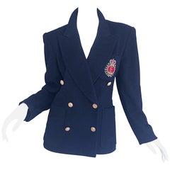 Chic Vintage Escada by Margaretha Ley Navy Blue Double Breasted Blazer Jacket