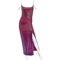 Vintage Richard Tyler Couture Size 6 Cranberry Red Burgundy Sequin 1990s Gown