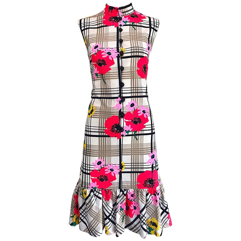 d8108c8c Chic 1960s Stripes and Flowers Black and White Colorful Vintage 60s Shift  Dress For Sale