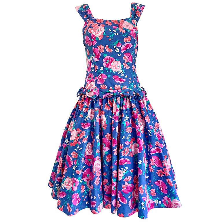 56acaf85054 1980s Laura Ashley Blue + Pink Cotton Flower Fit n  Flare Vintage 80s Dress  For
