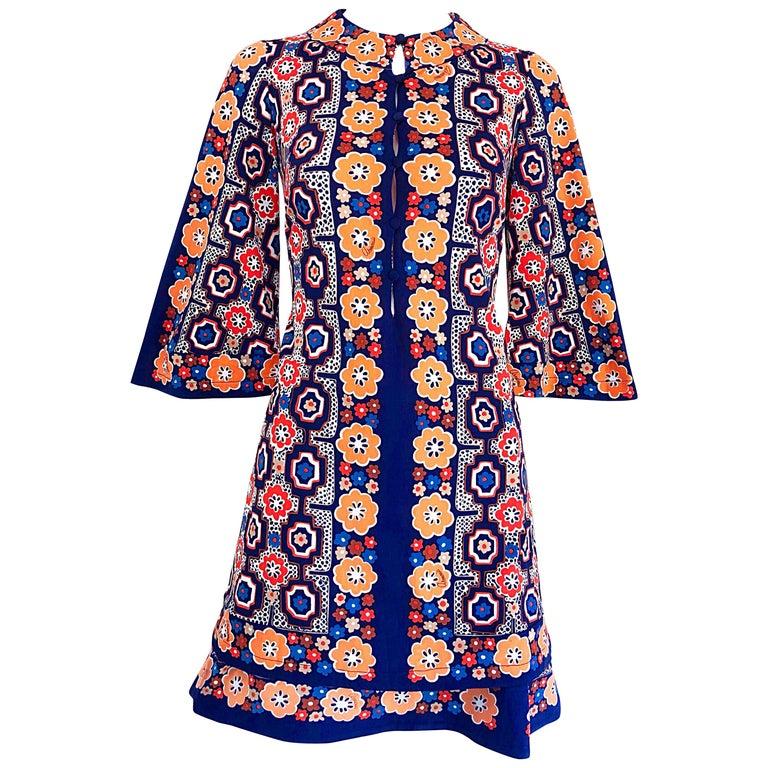 1960s Armonia Italian Jersey Bell Sleeve Vintage 60s Mod Tunic + Mini Skirt For Sale