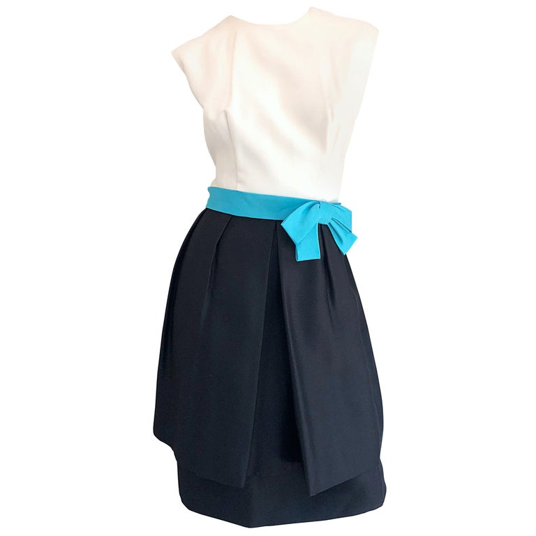 1950s B. Altman Black and White + Turquoise Blue Vintage 50s Silk Cocktail Dress For Sale