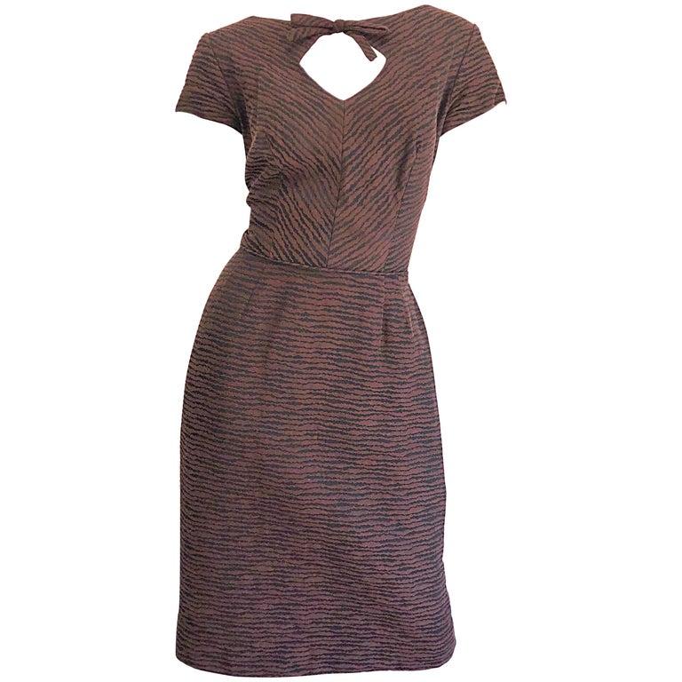 909697b629 1950s Lord   Taylor Brown + Black Zebra Print Pique Cotton 50s Vintage Dress  For Sale