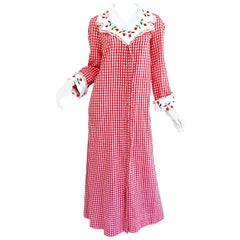 Amazing 1970s Saks 5th Avenue Red + White Cherry Print Gingham 70s Maxi Dress