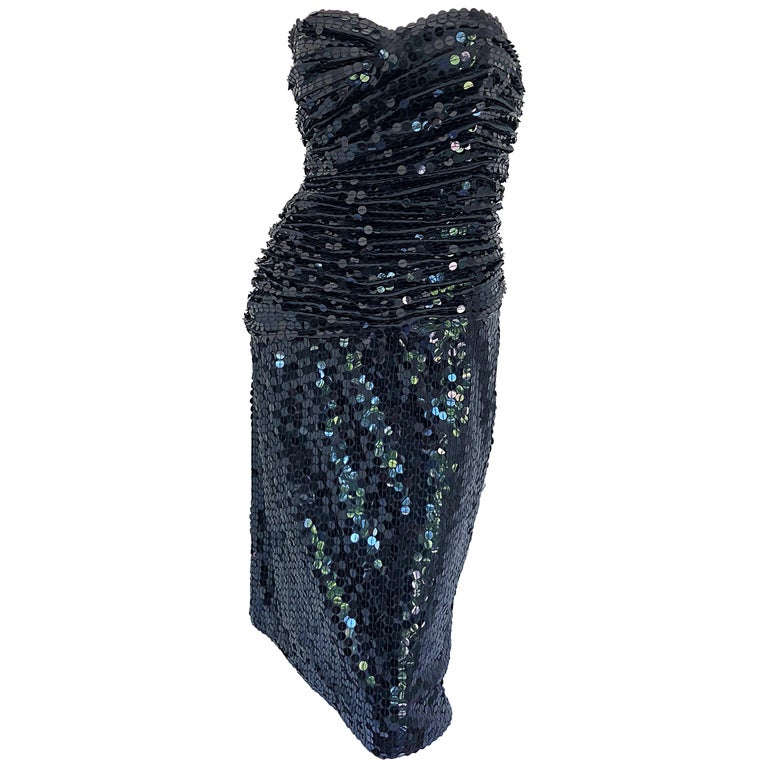 Vintage Vicky Tiel Couture Blac Silk Sequined Strapless Cocktail Dress For Sale