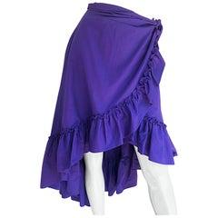 Vintage Emmanuelle Khanh Incredible Purple Cotton Hi - Lo Flamenco Wrap Skirt