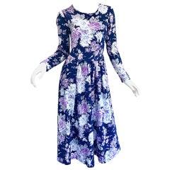 1990s Laura Ashley Navy Blue + Purple Long Sleeve Cotton Vintage 90s Midi Dress