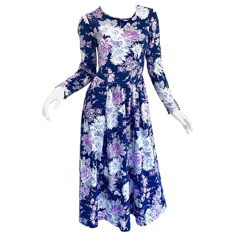 1990s Laura Ashley Navy Blue + Purple Long Sleeve Cotton Vintage 90s Midi Dress For Sale