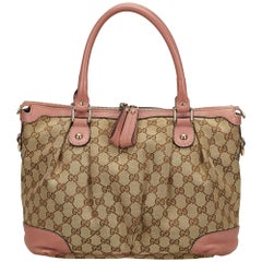 Gucci Brown x Pink Guccissima Jacquard Satchel