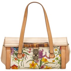 Gucci Brown x Multi Canvas Bamboo Bullet Bag